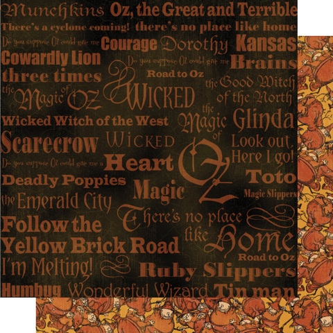 Wizard of Oz Munchkins 12x12 Double Sided Scrapbooking Paper