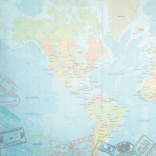 World Map West 12x12 Scrapbooking Paper