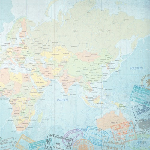 World Map East 12x12 Scrapbooking Paper