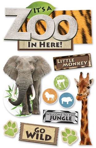 Zoo 3D Glitter Scrapbooking Stickers