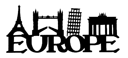 Europe Scrapbooking Laser Cut Title with Landmarks