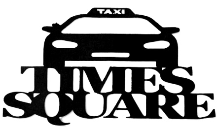 Times Square Scrapbooking Laser Cut Title with Taxi