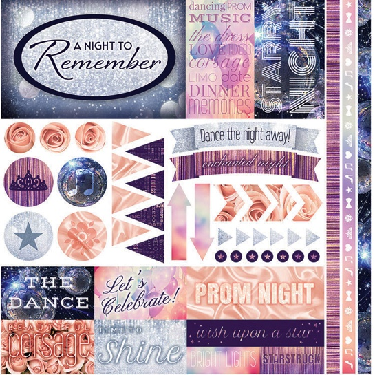 A Night to Remember 12x12 Cardstock Scrapbooking Stickers and Borders