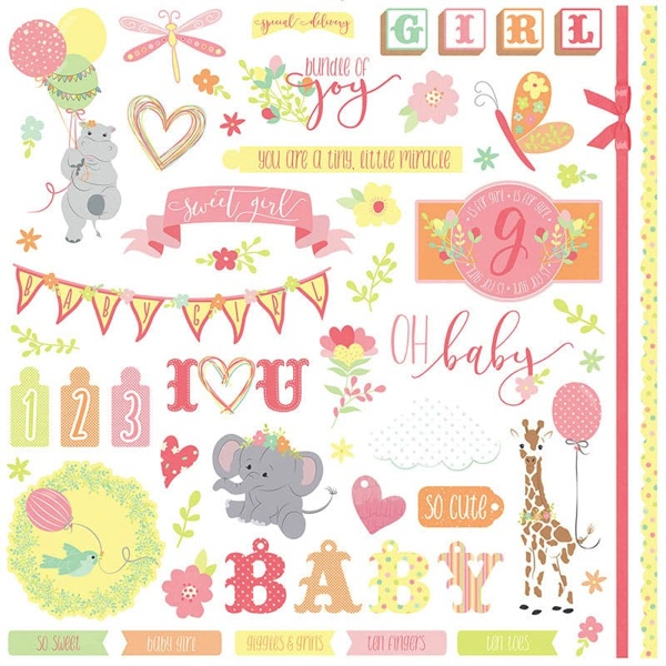 About a Little Girl 12x12 Cardstock Scrapbooking Stickers and Borders