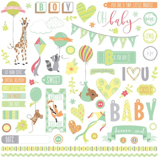 About A Baby Boy 12x12 Cardstock Scrapbooking Stickers and Borders