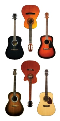 Acoustic Guitars Scrapbooking Mini Stickers
