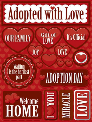 Adopted with Love 3D Scrapbooking Stickers