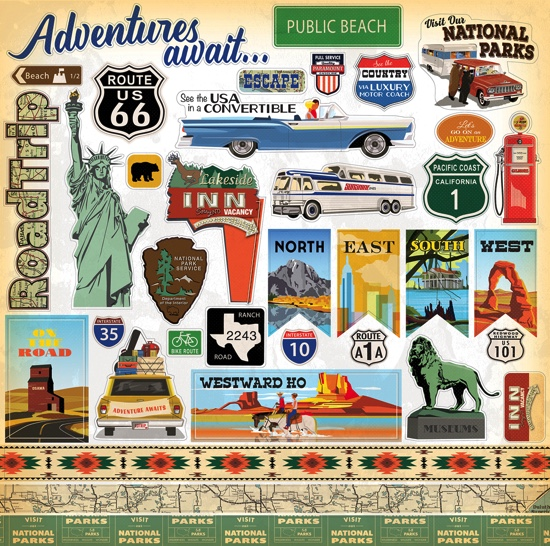 Adventures Await 12x12 Cardstock Scrapbooking Stickers and Borders