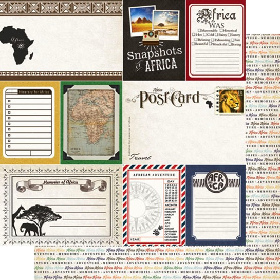 Africa Journal 12x12 Double Sided Scrapbooking Paper