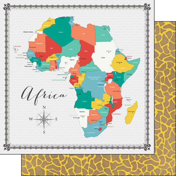 Africa Memories Map 12x12 Double Sided Scrapbooking Paper