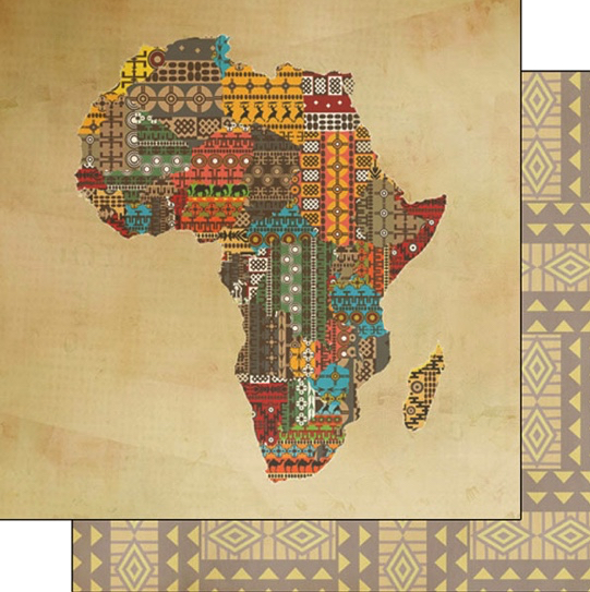 Africa Shape 12x12 Double Sided Scrapbooking Paper