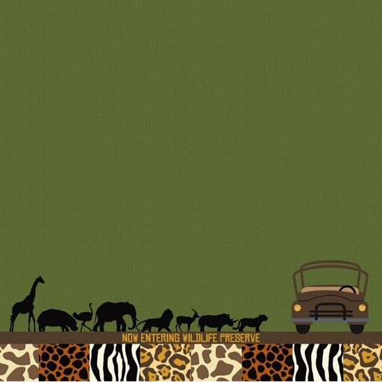 Animal Kingdom Africa Safari 12x12 Scrapbooking Paper