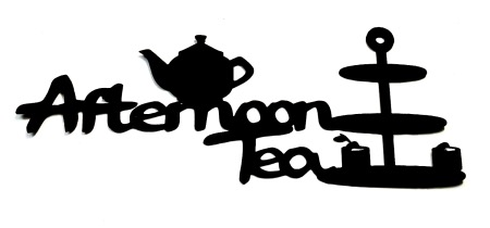 Afternoon Tea Scrapbooking Laser Cut Title with Tea Pot and cake stand