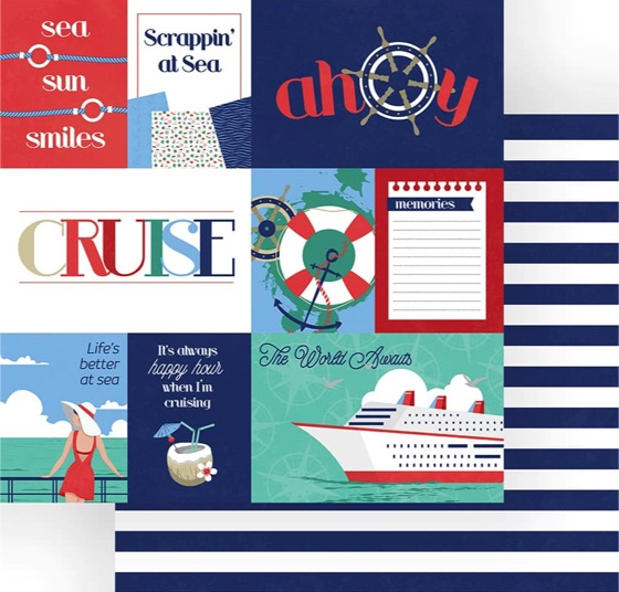 Ahoy Double Sided 12x12 Scrapbooking Paper