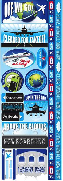 Air Travel Cardstock Scrapbooking Stickers and Borders