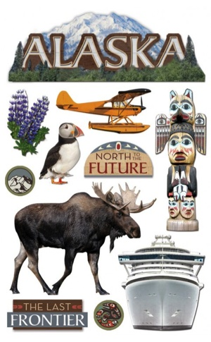 Alaska 3D Glitter Scrapbooking Stickers