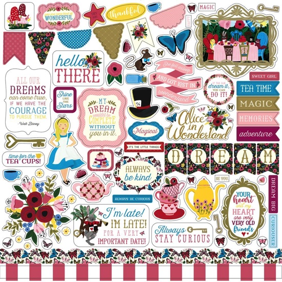 Alice in Wonderland 12x12 Cardstock Scrapbooking Stickers and Borders