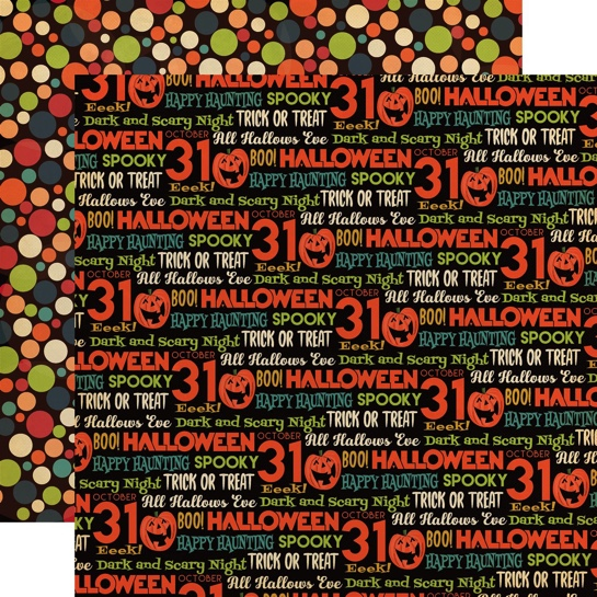Halloween Words Double Sided 12x12 Scrapbooking Paper