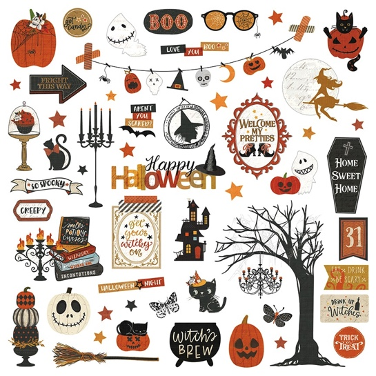 All Hallows Eve 12x12 Cardstock Scrapbooking Stickers