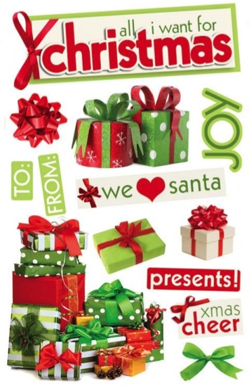 All I Want for Christmas 3D Glitter Scrapbooking Stickers