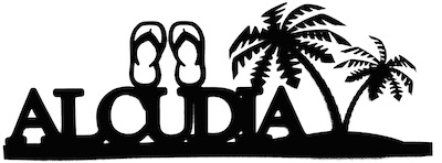 Alcudia Scrapbooking Laser Cut Title With Flip Flops and Palm Trees