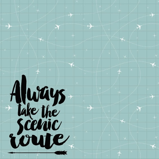 Always Take the Scenic Route 12x12 Scrapbooking Paper