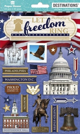 America Freedom 3D Scrapbooking Stickers