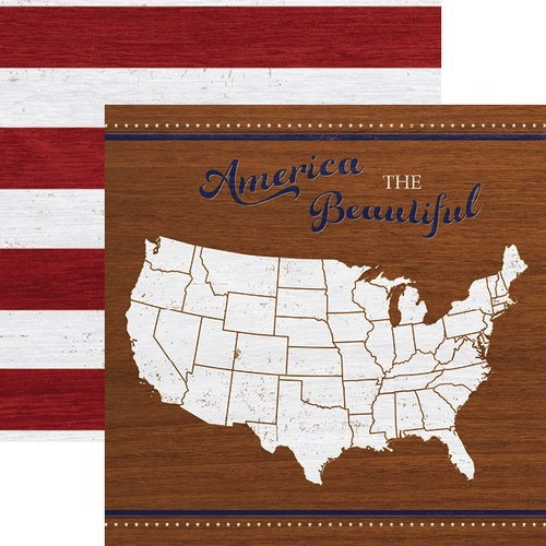 America the Beautiful USA Double Sided 12x12 Scrapbooking Paper