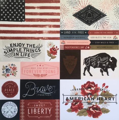American Heart 12x12 Scrapbooking Paper