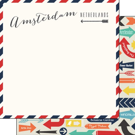 Amsterdam Memories Arrows 12x12 Double Sided Scrapbooking Paper