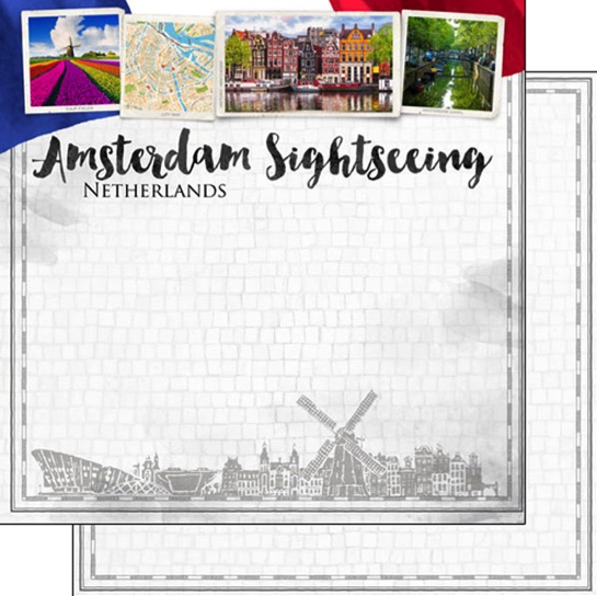 Amsterdam Sightseeing 12x12 Double Sided Scrapbooking Paper