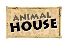 Animal House Die Cut Scrapbooking Sticker with glitter