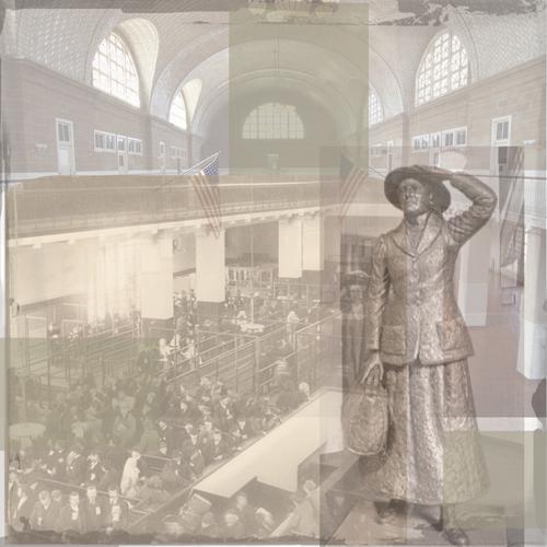 Annie Moore Collage Ellis Island 12x12 Scrapbooking Paper