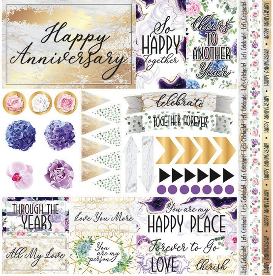 Anniversary Blessings 12x12 Cardstock Scrapbooking Stickers and Borders