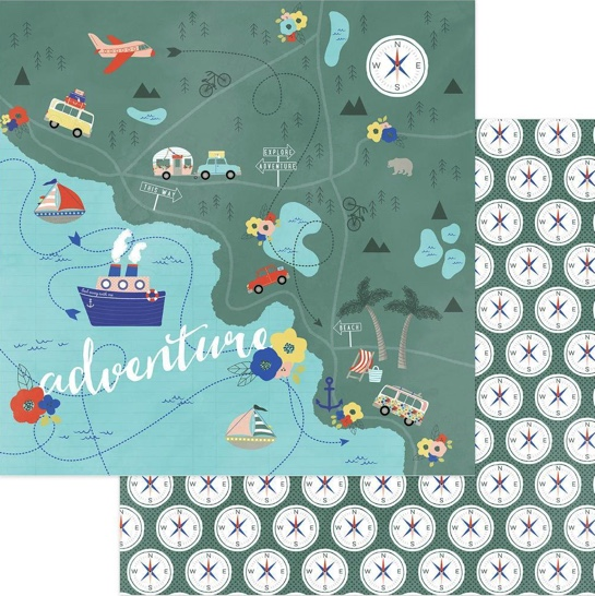 Are We There Yet Adventure Double Sided 12x12 Scrapbooking Paper