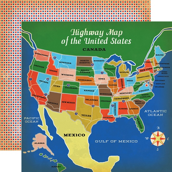 USA Highway Map 12x12 Double Sided Scrapbooking Paper