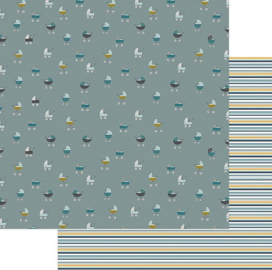 Around Town Prams Double Sided 12x12 Scrapbooking Paper