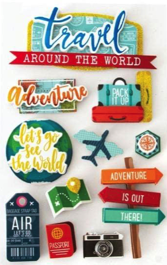Around the World 3D Glitter Scrapbooking Stickers