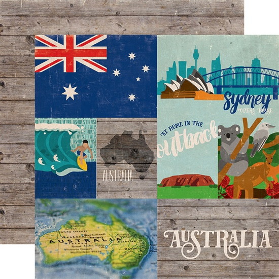 Around the World Australia Double Sided 12x12 Scrapbooking Paper