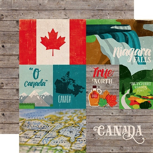 Around the World Canada Double Sided 12x12 Scrapbooking Paper