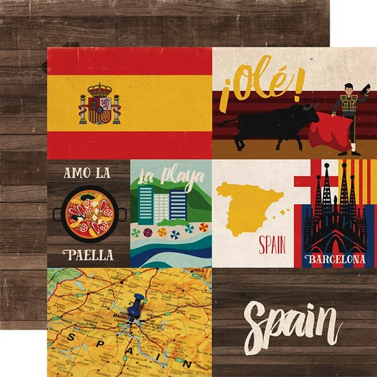 Around the World Spain Double Sided 12x12 Scrapbooking Paper