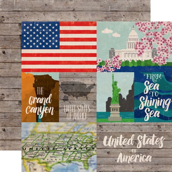 Around the World USA Double Sided 12x12 Scrapbooking Paper