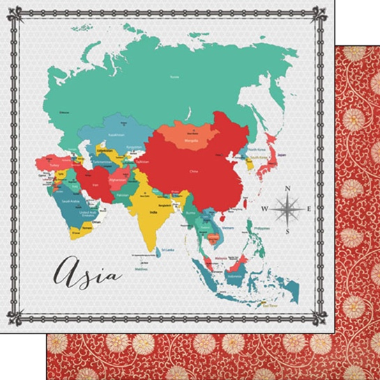 Asia Map 12x12 Double Sided Scrapbooking Paper