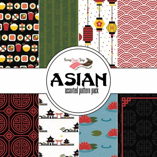 Asian 12x12 Scrapbooking Paper Pack