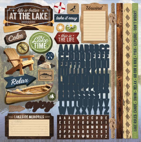 At the Lake 12x12 Cardstock Scrapbooking Stickers and Alphabets
