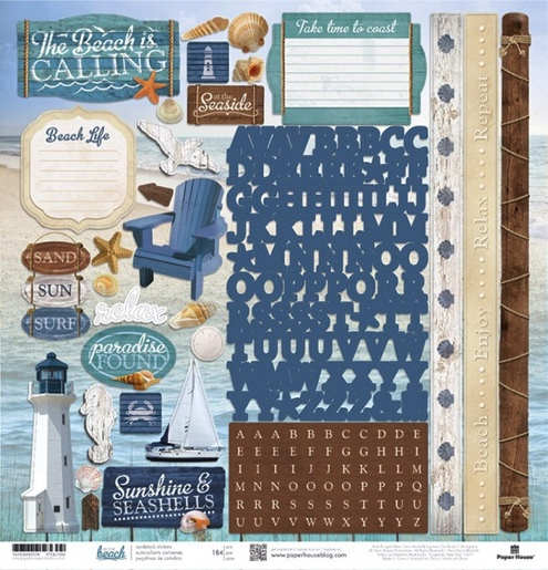 At the Beach 12x12 Cardstock Scrapbooking Stickers and Alphabets
