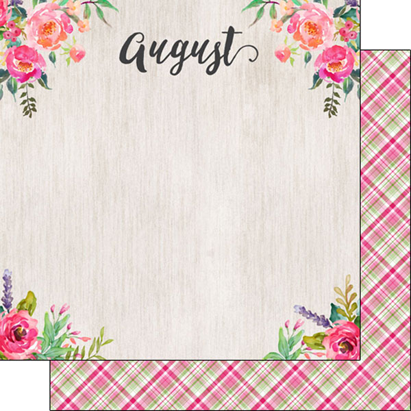 August 12x12 Double Sided Scrapbooking Paper