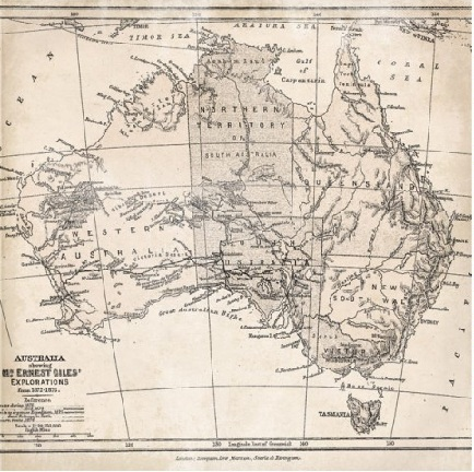 Australia Map Double Sided 12x12 Scrapbooking Paper