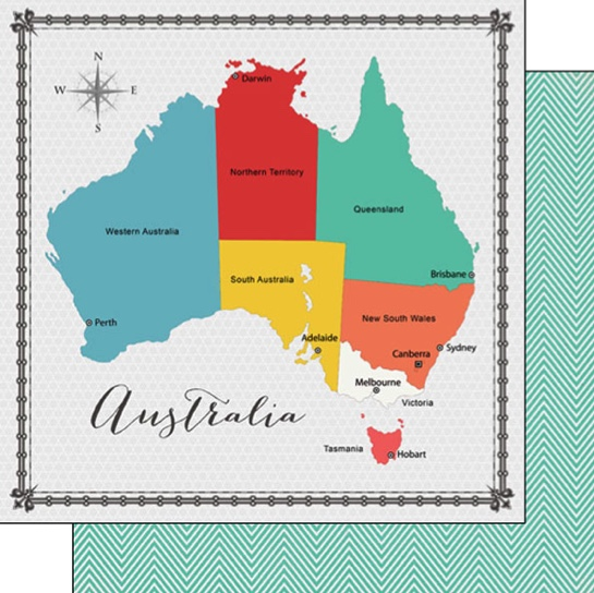 Australia Memories Map 12x12 Double Sided Scrapbooking Paper