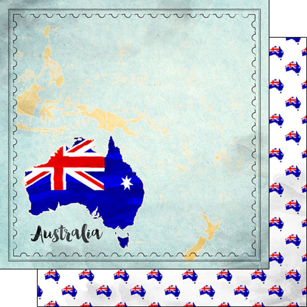 Australia Sights Map 12x12 Double Sided Scrapbooking Paper